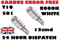 2 x 8000k ERROR FREE CANBUS W5W T10 501 LED SIDE LIGHT BULB 13 SMD Xenon White
