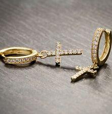 Men's 2pc 14K Gold 925 Sterling Silver Cross Drop Dangle Huggie Hoop Earrings