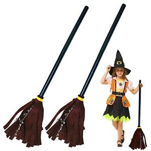 2 PC Halloween Witch Broom Plastic Witch Broom Props Brown & Purple Witch Broom