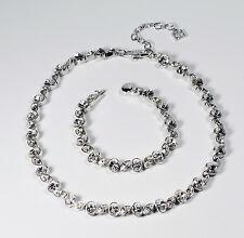 Multi Shaped Clear Rhinestone Silver Tone Demi Parure Necklace & Bracelet