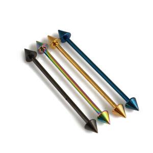"14G 1-1/2""(38mm) TITANIUM Anodized Steel Long Bar Industrial Barbells Spike Cone"