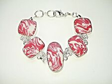 """AB Red White Calsilica One-of-a-Kind Bracelet Wrist Chain 925 Silver 7.5-8.5"""""""