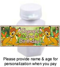 30 Bambi Birthday Party Or Baby Shower Labels Stickers For Mini Bubbles Deer