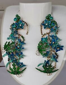 """Vintage Lunch at the Ritz Earrings Clip on 5 1/2"""" long Signed Gorgeous!"""