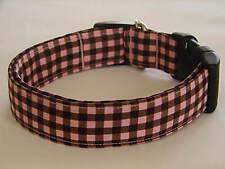 Charming Pink & Brown Gingham Checks Dog Collar