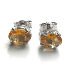 Citrine Stud Earrings Claw Set in Sterling Silver