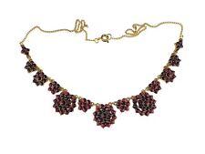 Jugendstil 900 Silber vergoldet echte Böhmische Granat Halskette Collier