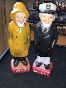 "Capn Pepper Old Salty Nautical Salt n Pepper Shakers Figurines 6.5"" Set Kitchen"