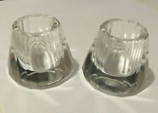 Two Lenox Crystal Candlestick Candle Holders Par Set Short 4Cm High