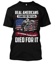 Real Americans Stand For The Flag New Men's Shirt Donald Trump Veteran Patriotic