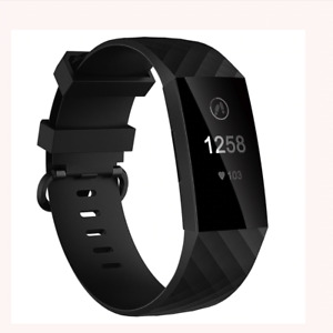 Fitbit Charge 3 Replacement Silicone Watch Strap Band Men's Women's SIZE L BLACK