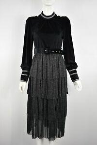 Women's Girls Tiered Long Sleeve Velvet Silver Lurex Belted Midi Dress Black