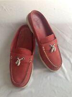 L.L.Bean Slip-On Mules Slides Red Leather Size 7M