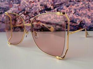 🔥 Gucci GG0252S Gold Frame Pink Lens Women's Oversize Sunglasses Butterfly