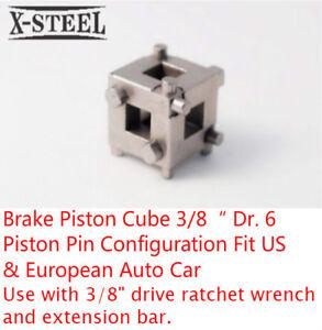 "Brake Piston Cube 3/8"" Dr. 6 Piston Pin Configuration Fit US & European Auto Car"