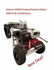 Simpson 3400 PSI 6.5HP Honda Powered Pressure Washer Aluminum Frame Ready To Use