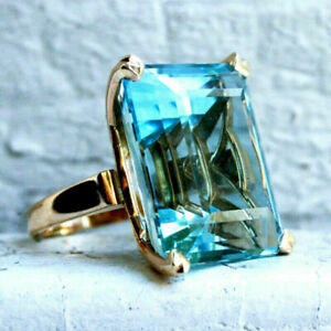18K GOLD FILLED LARGE RECTANGULAR CLASSIC TURQUOISE SAPPHIRE SIZE P 1/2 LAST 1