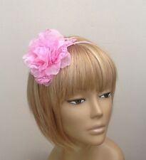 Large Pink Hair Flower Fascinator Headband Bridesmaids Weddings Flowergirls