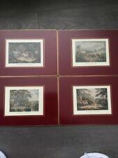 Vintage Hunting Scene cork place mats set of 4 trivets