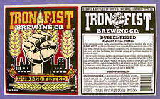Iron Fist Brewing DUBBEL FISTED beer label CA 25.4oz STICKER WITH BACK Var. #1