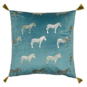 Teal Gold Zebra Pillow Velvet Cushion Tassels Large Scatter Cushion