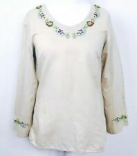 Beige Wide Sleeve Cotton Blend Tunic Intricate Beaded Top Small 10 12 (E1)