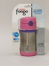 THERMOS FOOGO Vacuum Insulated Stainless Steel 10-Ounce Straw Bottle, Pink/Purpl
