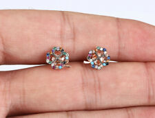 TRIFOLIUM RUBY ROSE GOLD COLORED OVER .925 STERLING SILVER EARRINGS #67943
