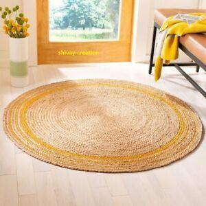 Rug Natural Jute Floor Mat Round 5x5 Feet Carpet Modern Rustic Look Area Rug
