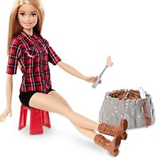Barbie Camping Fun Doll Electronic Light and Sounds Campfire + Accessories FDB44