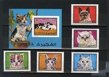 Fujeira 3170.4km 588-532a,bl.34b Ensemble de chats de 5 timbres & S/S MNH