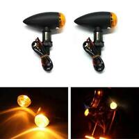2X Black Metal Motorcycle Turn Signal Mini Bullet Blinker Amber Indicator Lights