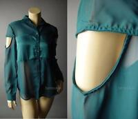 Sale Avant Garde Cutout Sleeve Sheer Chiffon Satin Evening 75 mv Blouse S M L