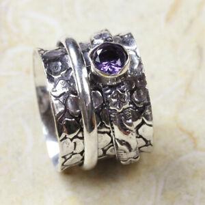 Amethyst Meditation Spinner 925 Silver Plated Handmade Ring of US Size 7 Ethnic