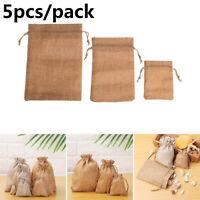 Plain Linen Sack Jute Gift Bags Wedding Favor Candy Organizer Drawstring Pouch