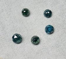 3 pcs 4-5mm natural blue rose cut diamond lot, blue round rose cut diamonds