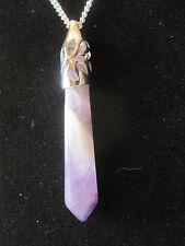 "$~Amethyst  Crystal Pendant Necklace 18"" chain~LBDLR"