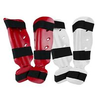 New Foam Dipped Shin Instep Guard Pads Martial Arts Karate TKD MMA  Red - White