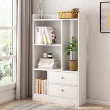 4 Cube White Corner Bookshelf Bookcase Book Shelving Unit Display Drawer Cabinet