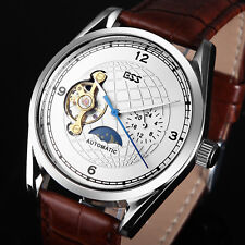 ESS White Dial Men's Tourbillion Watch Brown Strap Mechanical Automatic Leather