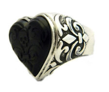 King Baby Mens Silver and Carved Jet Heart Ring Size 12.25 NWT