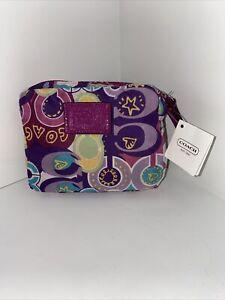 Coach Bag Folding Poppy Signature Nylon  Tote Purple Graffiti   F62112  B3J