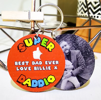 PERSONALISED CHRISTMAS GIFT KEYRING SUPER DADDY GRANDAD UNCLE DAD FATHERS DAY