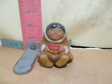 Little Eskmo Or Inuit Child With Bowl Of Berries Bell Part - No Thong Or Clapper