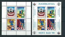 YUGOSLAVIA 1990 29ths CHESS OLYMPICS in NOVI SAD (sheetlets prerf and imperf) NH