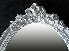 Wandspiegel Landhaus Spiegel Antik Barock Weiss Shabby Blumen motiv OVAL 64,3cm