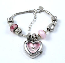 Henley Ladies Pink Love Heart Hanging Charm Watch and Removable Beads Bracelet