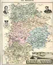 Carte, Departement de la SEINE-ET-MARNE, vers 1885