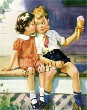VINTAGE ICE CREAM CONE CHILDREN BOY GIRL KISS NOSTALGIA CANVAS ART PRINT