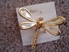 Gold Tone Dragonfly Motion Pin, With Mother Of Pearl Wings, By Cheng'S,